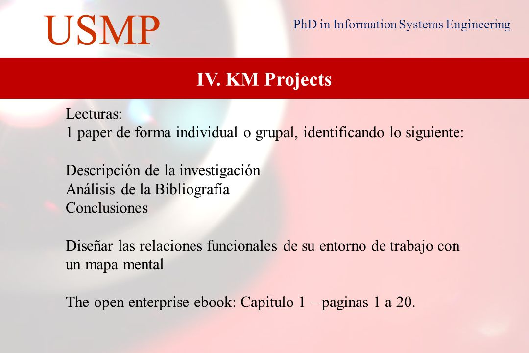 19 USMP PhD in Information Systems Engineering III. Experts Systems & KM