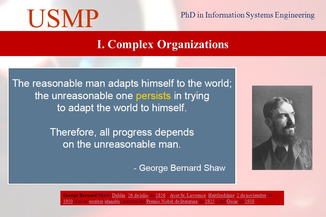 6 USMP PhD in Information Systems Engineering I. Complex Organizations