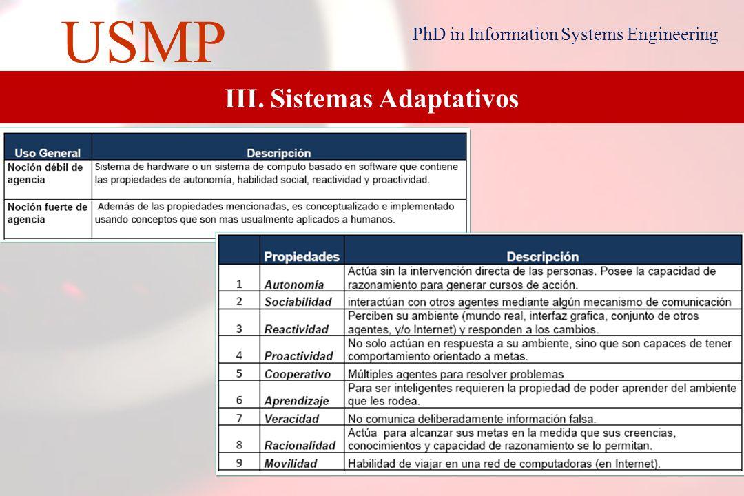 11 USMP PhD in Information Systems Engineering Definiciones de Agentes Nwana [1996] Un agente se puede definir como un programa de computadora que tiene cierto grado de autonomía, se comunica con otros agentes y trabaja en beneficio de un usuario en particular.
