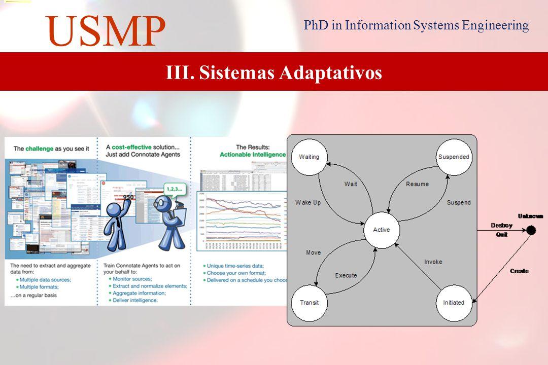 14 USMP PhD in Information Systems Engineering 14 III. Sistemas Adaptativos