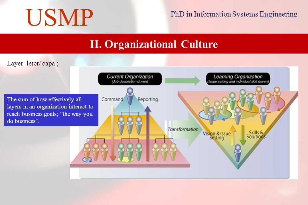 10 USMP PhD in Information Systems Engineering II. Organizational Culture Resource