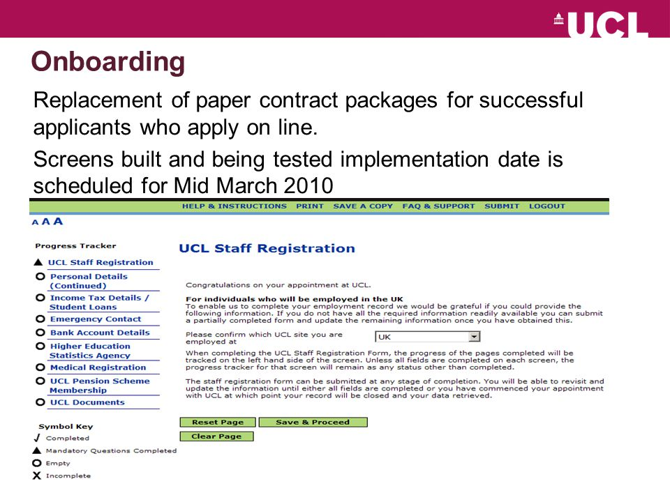 Onboarding Replacement of paper contract packages for successful applicants who apply on line.