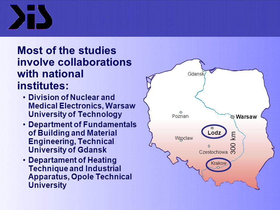 Most of the studies involve collaborations with national institutes: Division of Nuclear and Medical Electronics, Warsaw University of Technology Depa