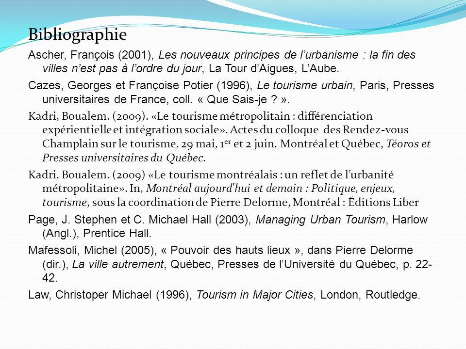 Bibliographie Ascher, François (2001), Les nouveaux principes de l'urbanisme : la fin des villes n'est pas à l'ordre du jour, La Tour d'Aigues, L'Aube.