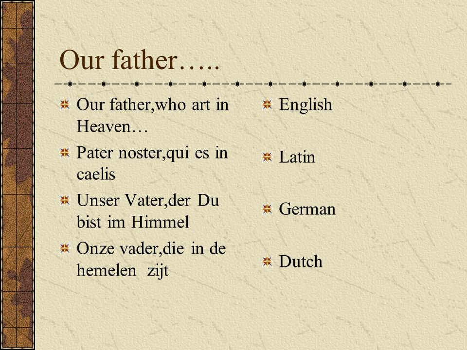 Our father…..