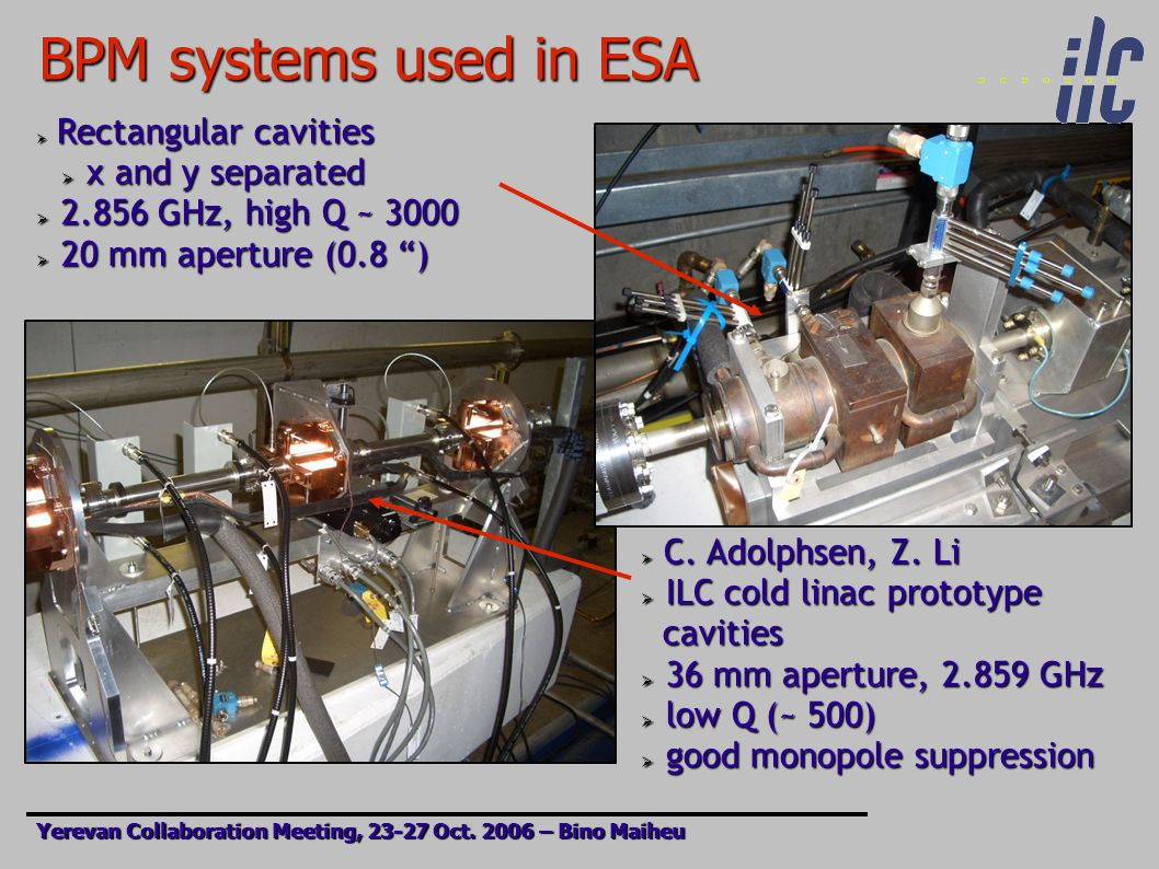 BPM systems used in ESA Yerevan Collaboration Meeting, 23-27 Oct.