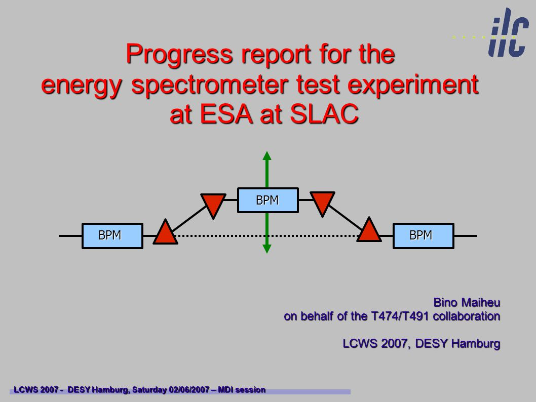 Outline Physics motivation Physics motivation Building an energy spectrometer based upon high resolution cavity BPMs Building an energy spectrometer based upon high resolution cavity BPMs The ESA test facility at SLAC, T474/T491, experimental setup The ESA test facility at SLAC, T474/T491, experimental setup Putting in the chicane, beam line modifications, progress since VLCWS 06 Putting in the chicane, beam line modifications, progress since VLCWS 06 Progress on results and data analysis, understanding systematics Progress on results and data analysis, understanding systematics Outlook Outlook