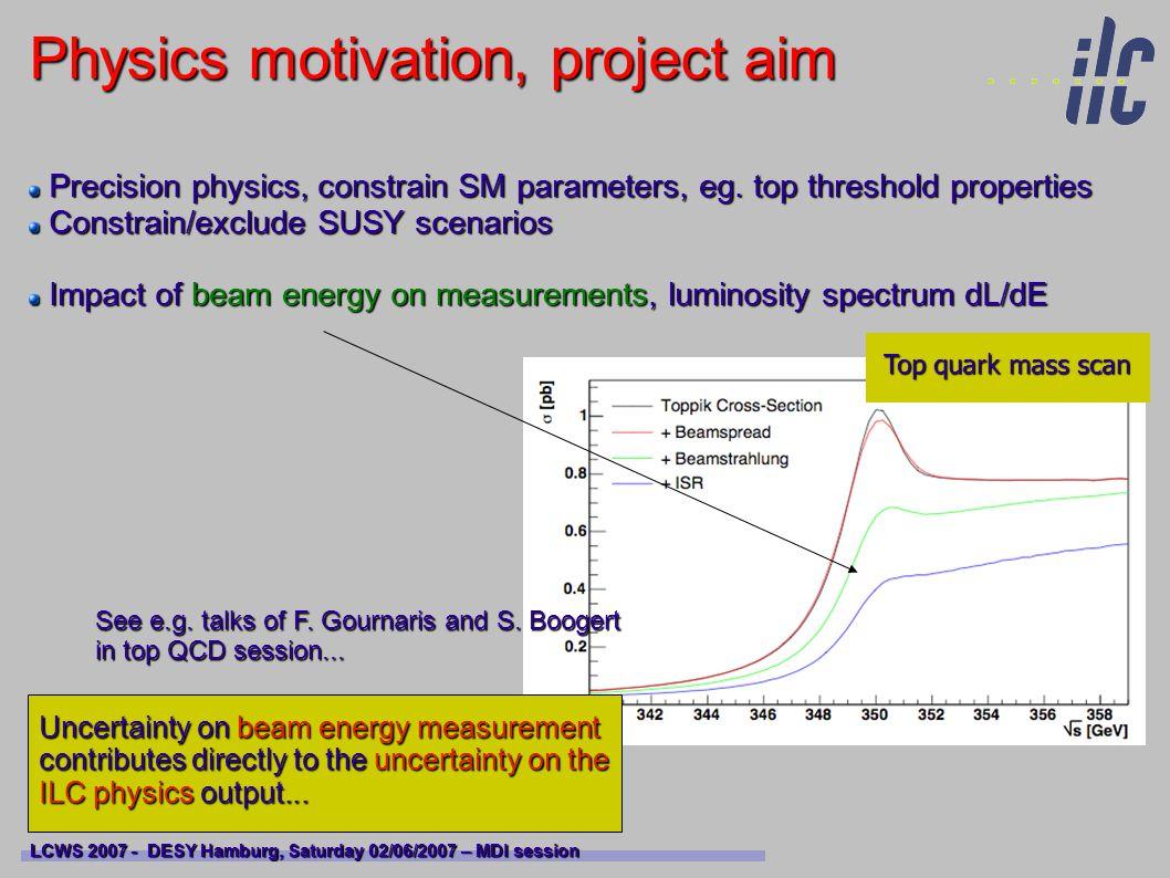 Proposed ILC energy spectrometer LCWS 2007 - DESY Hamburg, Saturday 02/06/2007 – MDI session BPM BPM BPM Precision measurement : dE/E 10 -4 Precision measurement : dE/E 10 -4 Minimal impact on beam itself : allowed emittance growth from SR Minimal impact on beam itself : allowed emittance growth from SR Limited space budget in BDS ~ 60 m Limited space budget in BDS ~ 60 m Minimal impact on physics data taking for e.g.