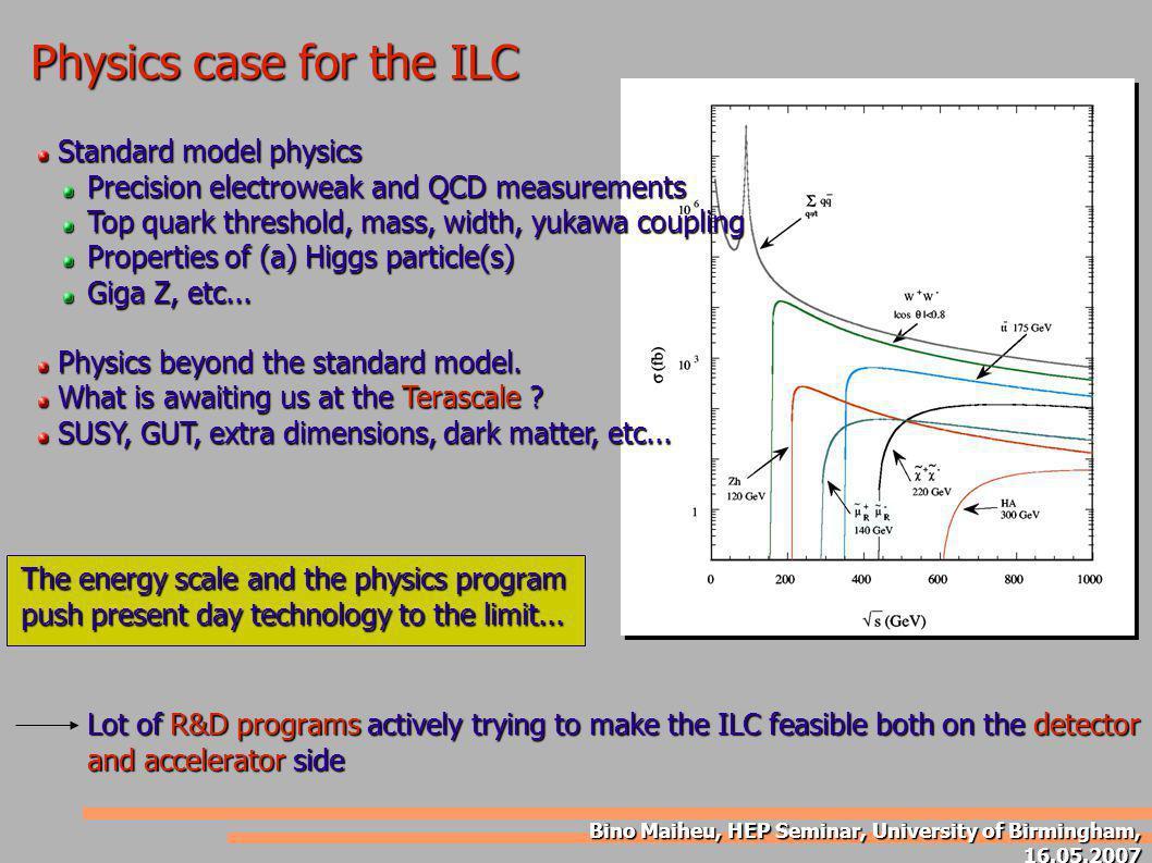 Bino Maiheu, HEP Seminar, University of Birmingham, 16.05.2007 Physics case for the ILC Standard model physics Standard model physics Precision electr