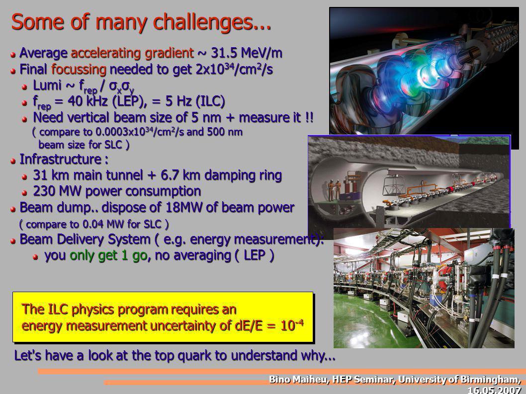 Bino Maiheu, HEP Seminar, University of Birmingham, 16.05.2007 Summary Physics case for an a 1 TeV linear e+e- collider is clear .