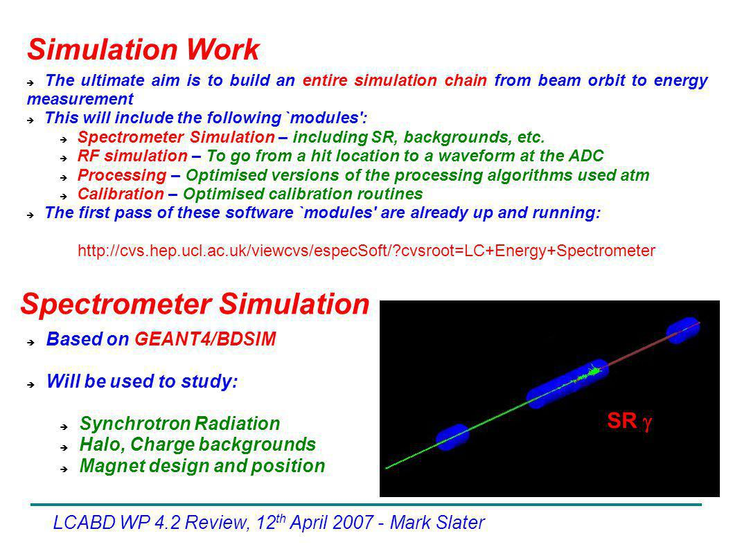  The ultimate aim is to build an entire simulation chain from beam orbit to energy measurement  This will include the following `modules':  Spectro