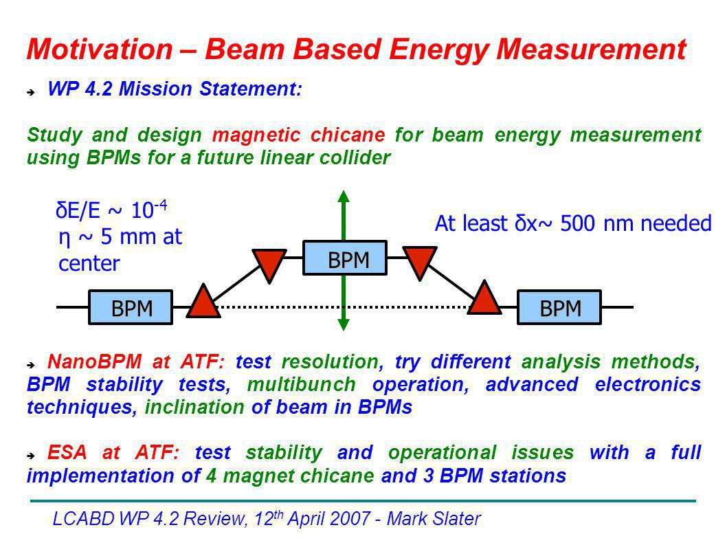 Motivation – Beam Based Energy Measurement LCABD WP 4.2 Review, 12 th April Mark Slater  WP 4.2 Mission Statement: Study and design magnetic chicane for beam energy measurement using BPMs for a future linear collider BPM BPM BPM η ~ 5 mm at center At least δx~ 500 nm needed δE/E ~  NanoBPM at ATF: test resolution, try different analysis methods, BPM stability tests, multibunch operation, advanced electronics techniques, inclination of beam in BPMs  ESA at ATF: test stability and operational issues with a full implementation of 4 magnet chicane and 3 BPM stations