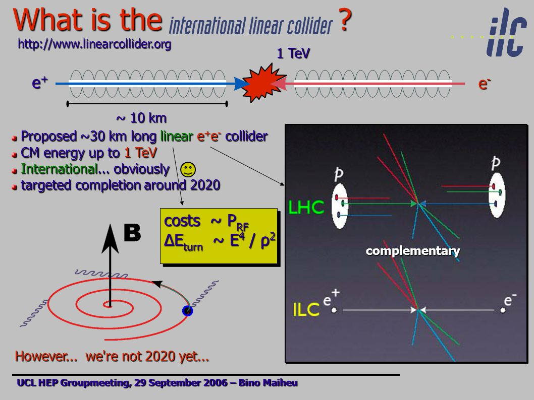 What is the ? UCL HEP Groupmeeting, 29 September 2006 – Bino Maiheu http://www.linearcollider.org ~ 10 km e+e+e+e+ e-e-e-e- 1 TeV Proposed ~30 km long