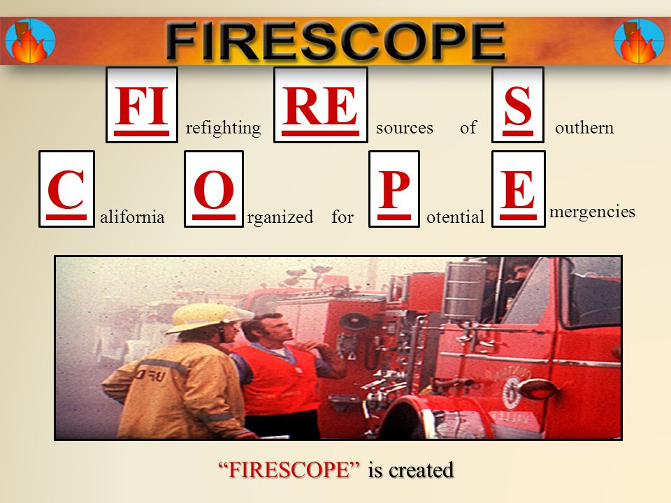 1984 Orange County Fire Department is added to the FIRESCOPE list of Partner Agencies after several years of active participation on the Task Force and several Specialist Groups