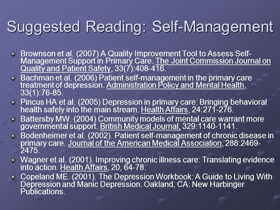 Suggested Reading: Self-Management Brownson et al.
