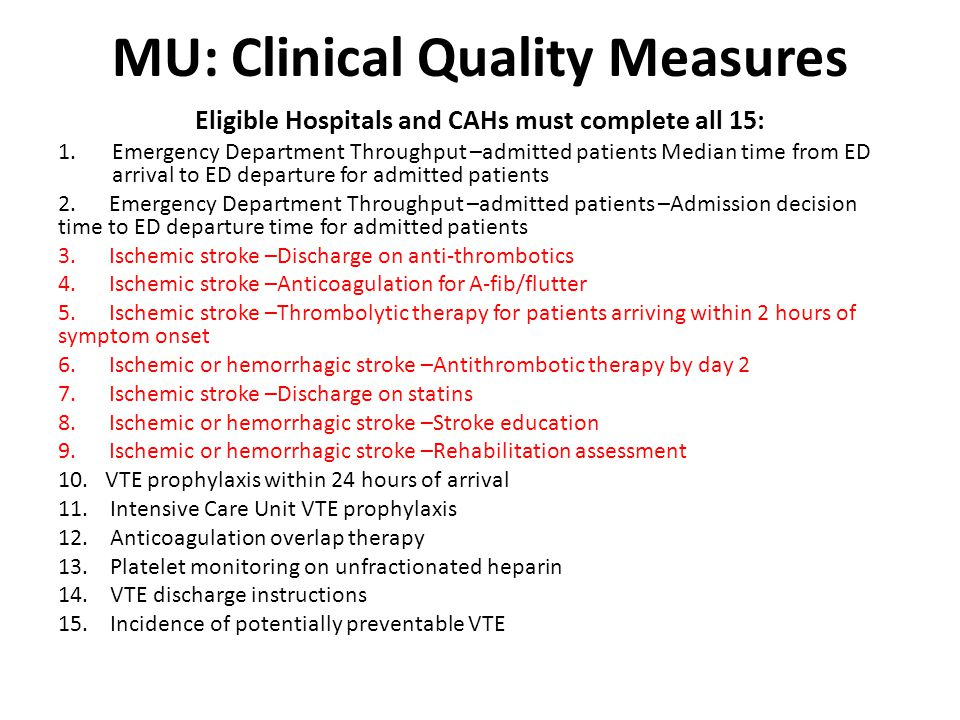 MU: Clinical Quality Measures Eligible Hospitals and CAHs must complete all 15: 1.Emergency Department Throughput –admitted patients Median time from