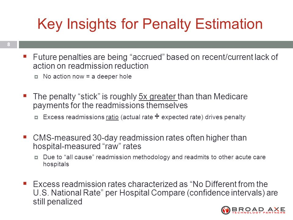 Key Insights for Penalty Estimation 8  Future penalties are being accrued based on recent/current lack of action on readmission reduction  No action now = a deeper hole  The penalty stick is roughly 5x greater than than Medicare payments for the readmissions themselves  Excess readmissions ratio (actual rate ÷ expected rate) drives penalty  CMS-measured 30-day readmission rates often higher than hospital-measured raw rates  Due to all cause readmission methodology and readmits to other acute care hospitals  Excess readmission rates characterized as No Different from the U.S.