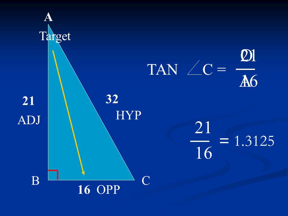 A BC 21 16 32 O A TAN C = 21 16 21 16 HYP Target OPP ADJ = 1.3125