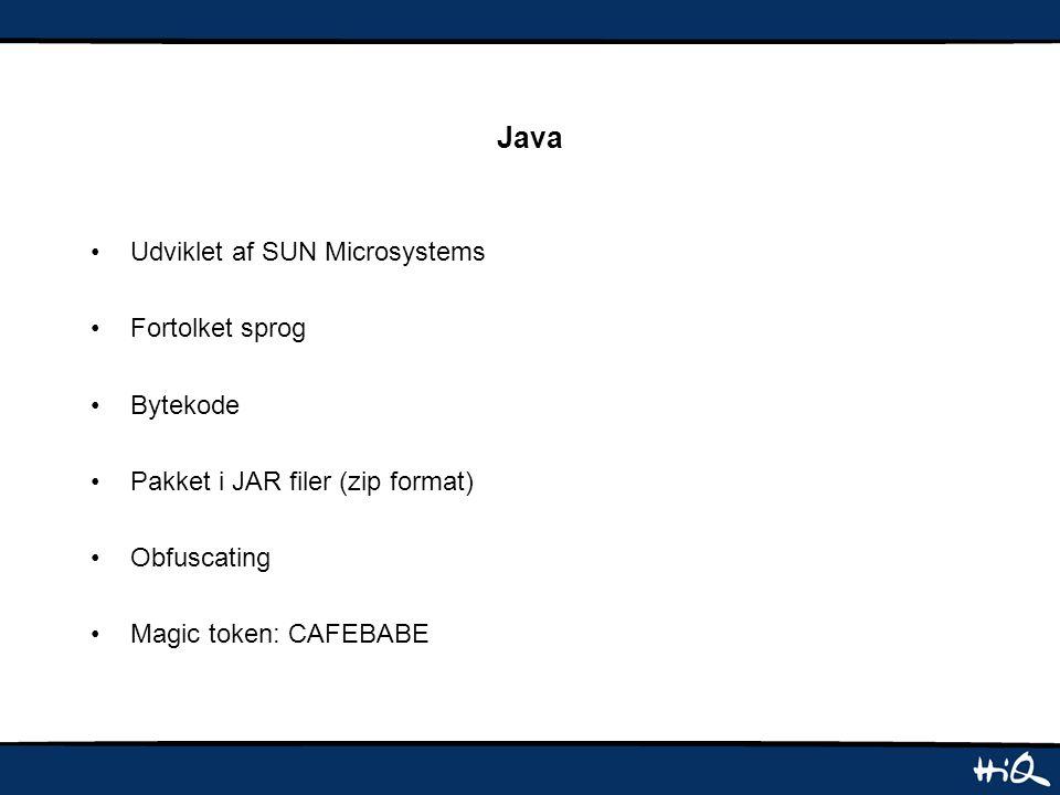 Java Udviklet af SUN Microsystems Fortolket sprog Bytekode Pakket i JAR filer (zip format) Obfuscating Magic token: CAFEBABE