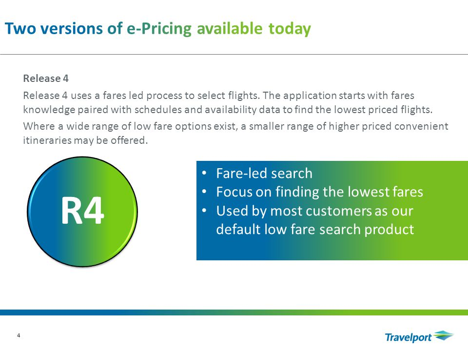 5 R3R4 R5 Release 5 Release 5 will access both the schedule and fares led processes in parallel.