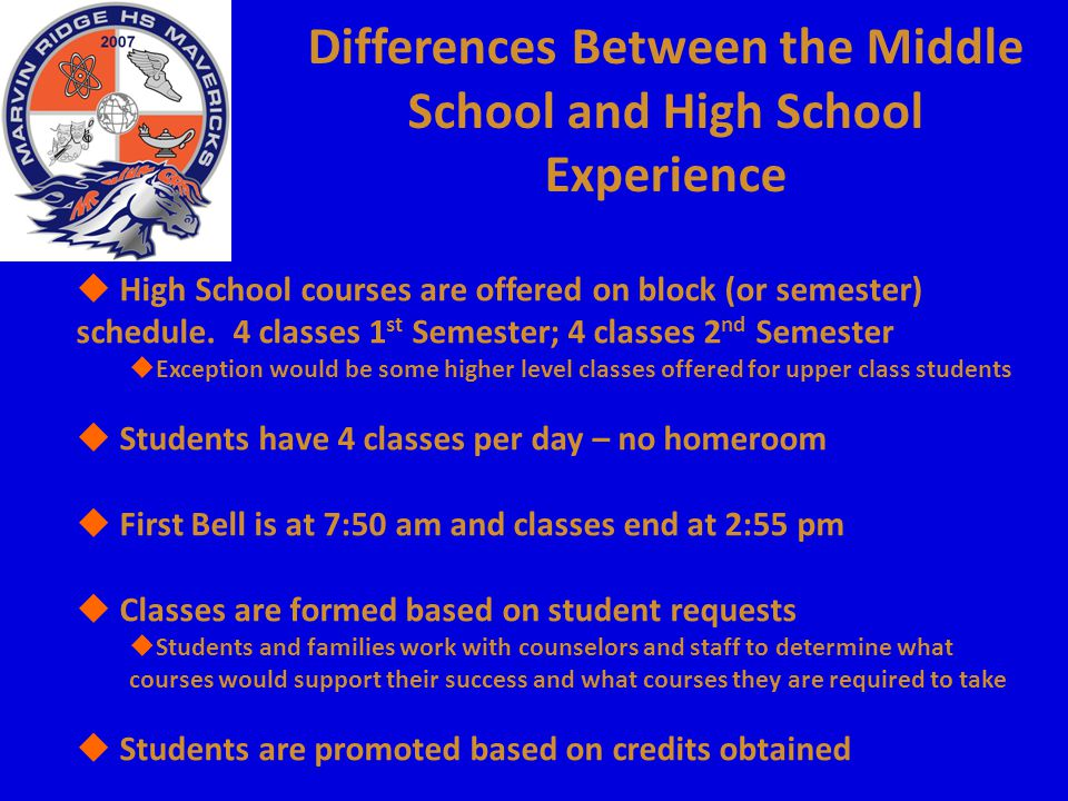 Differences Between the Middle School and High School Experience  High School courses are offered on block (or semester) schedule. 4 classes 1 st Sem
