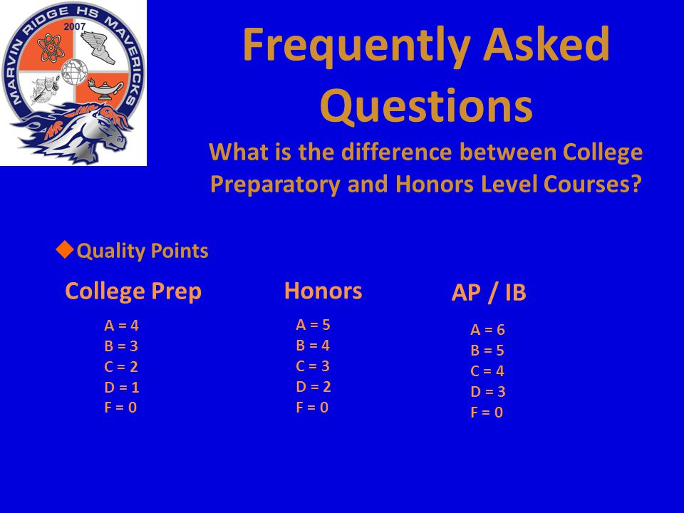 Frequently Asked Questions What is the difference between College Preparatory and Honors Level Courses?  Quality Points College Prep A = 4 B = 3 C =