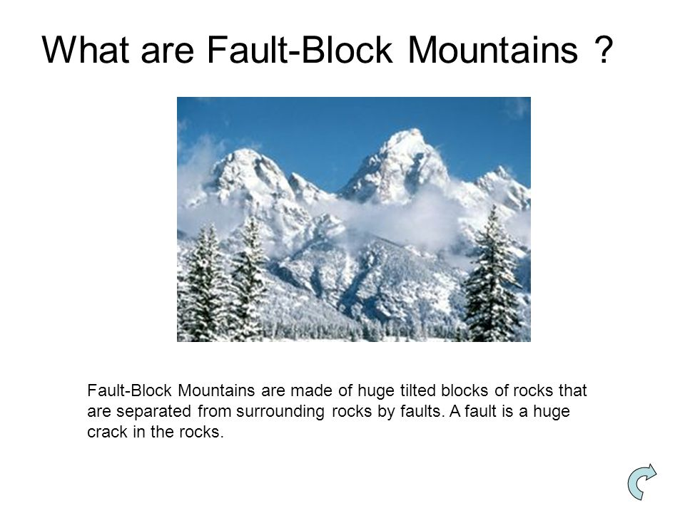 Fault-Block Mountains are made of huge tilted blocks of rocks that are separated from surrounding rocks by faults.