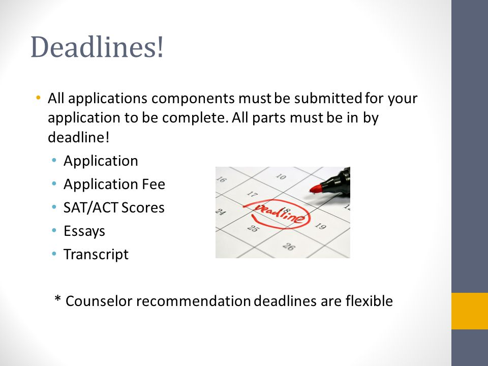 Deadlines. All applications components must be submitted for your application to be complete.