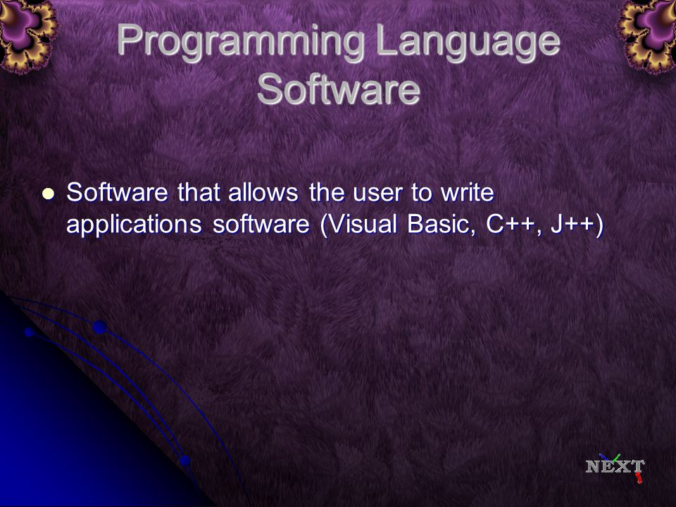 Application Software Programs that allow a computer to do specific jobs like word processing, databases, and spreadsheets (MS OFFICE – Word, Excel, Access, Publisher) Programs that allow a computer to do specific jobs like word processing, databases, and spreadsheets (MS OFFICE – Word, Excel, Access, Publisher)
