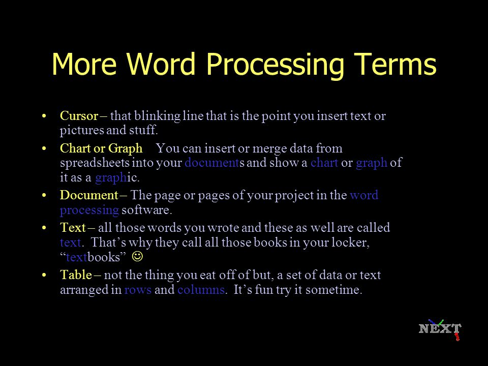 Word Processing Terms Character: any letter, number, or symbol typed on the keyboard Word Wrap: letting the computer decide where to end a line (don't have to push enter at the end of each line) Font: style of writing/typing Insert: to add new text into existing text Delete: to remove or erase