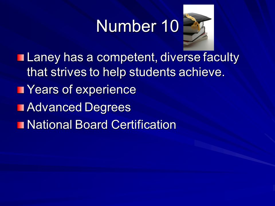 Number 10 Laney has a competent, diverse faculty that strives to help students achieve.