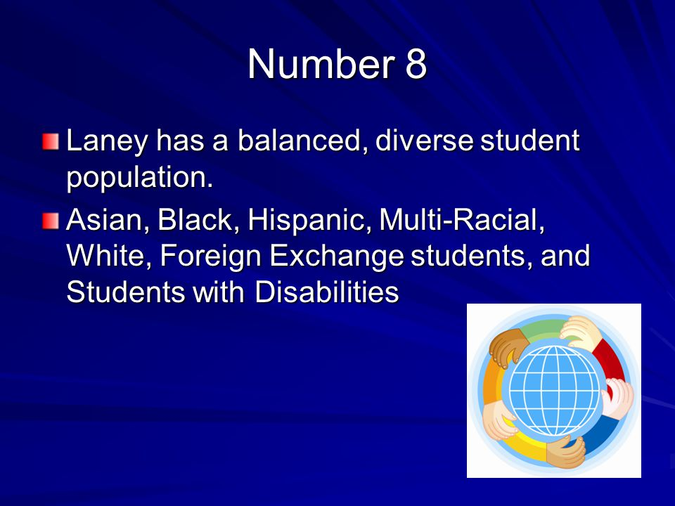 Number 8 Laney has a balanced, diverse student population.