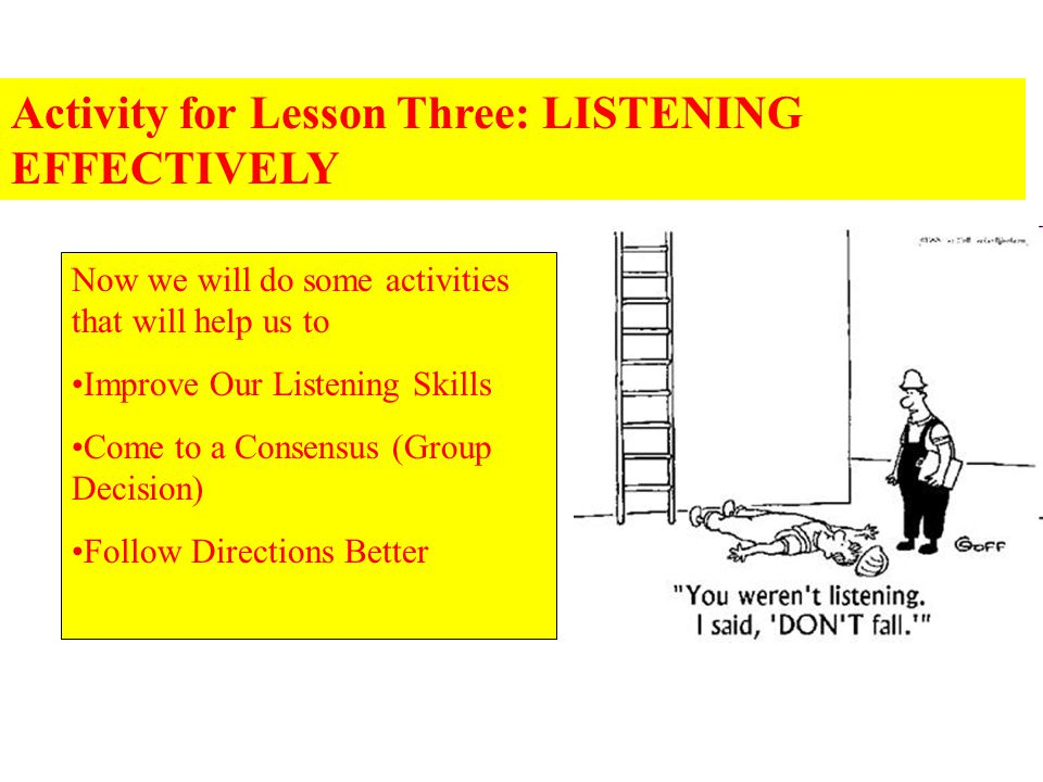 Activity for Lesson Three: LISTENING EFFECTIVELY Now we will do some activities that will help us to Improve Our Listening Skills Come to a Consensus