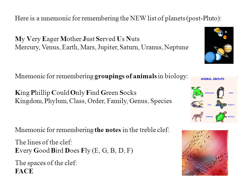 Here is a mnemonic for remembering the NEW list of planets (post-Pluto): My Very Eager Mother Just Served Us Nuts Mercury, Venus, Earth, Mars, Jupiter