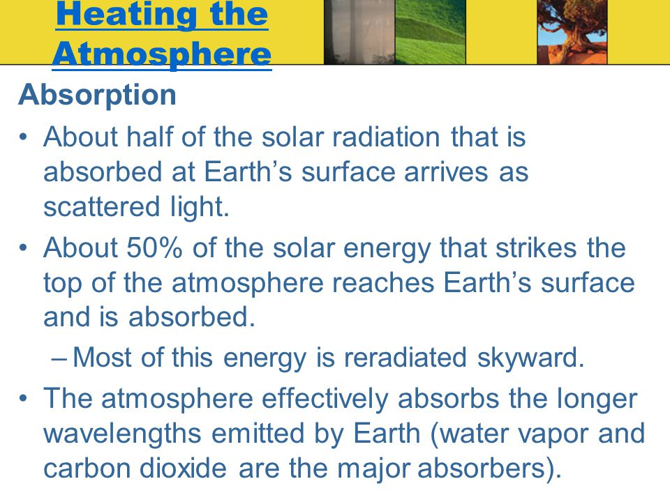 Absorption About half of the solar radiation that is absorbed at Earth's surface arrives as scattered light. About 50% of the solar energy that strike
