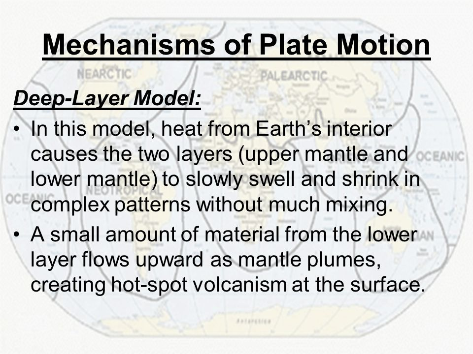 Deep-Layer Model: In this model, heat from Earth's interior causes the two layers (upper mantle and lower mantle) to slowly swell and shrink in comple