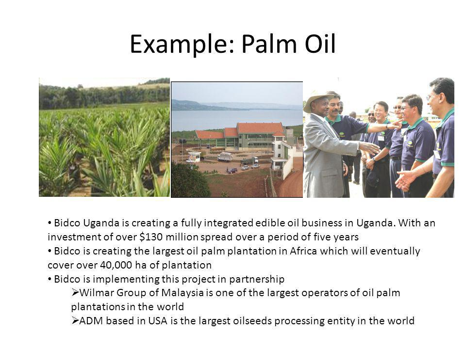 Example: Palm Oil Bidco Uganda is creating a fully integrated edible oil business in Uganda.