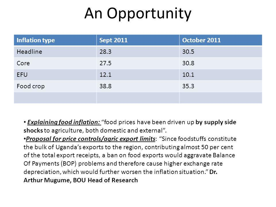 An Opportunity Inflation typeSept 2011October 2011 Headline28.330.5 Core27.530.8 EFU12.110.1 Food crop38.835.3 Explaining food inflation: food prices have been driven up by supply side shocks to agriculture, both domestic and external .