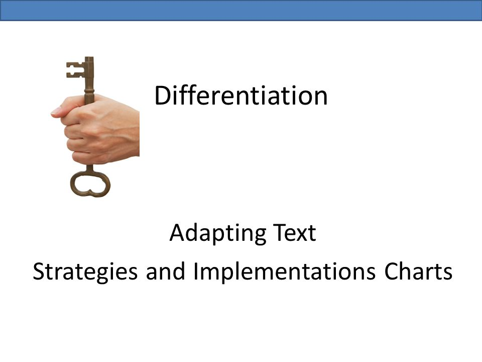 Differentiation Adapting Text Strategies and Implementations Charts