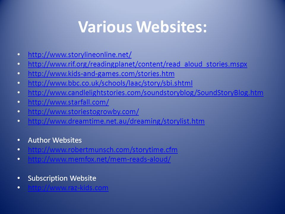 Various Websites: Author Websites     Subscription Website