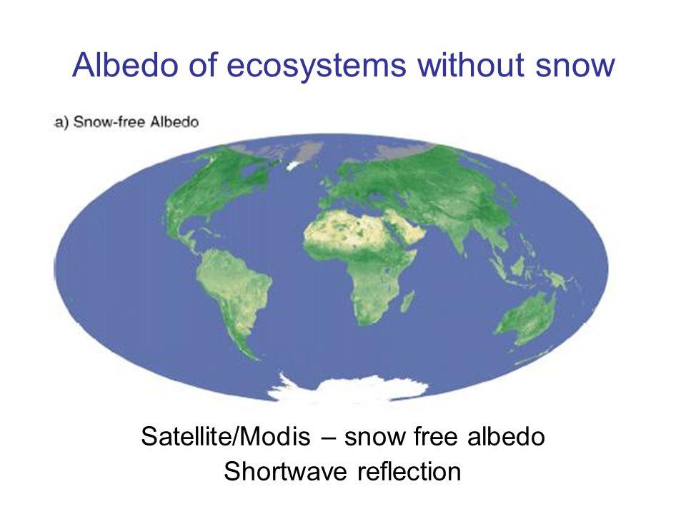 Albedo of ecosystems without snow Satellite/Modis – snow free albedo Shortwave reflection