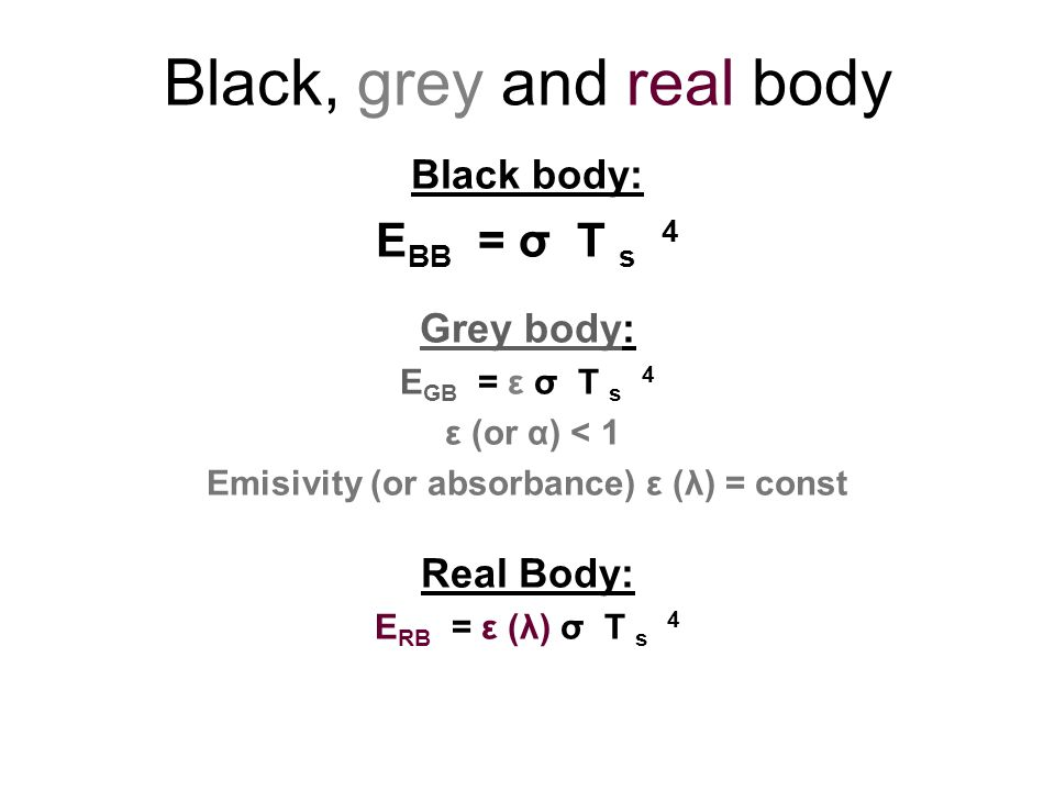 Black, grey and real body Black body: E BB = σ T s 4 Grey body: E GB = ε σ T s 4 ε (or α) < 1 Emisivity (or absorbance) ε (λ) = const Real Body: E RB