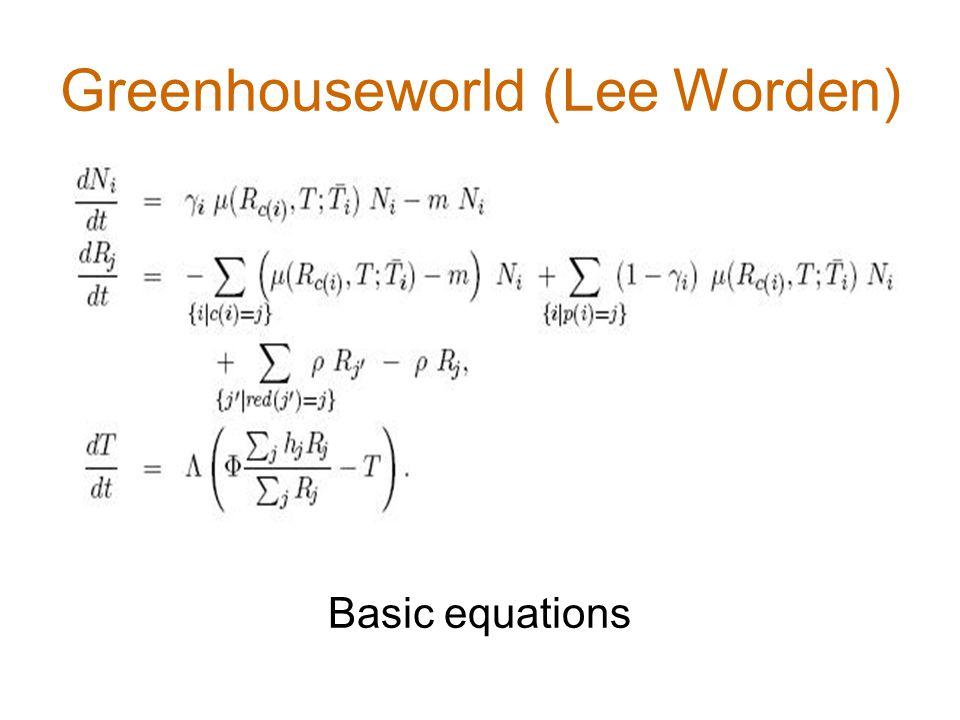 Greenhouseworld (Lee Worden) Basic equations