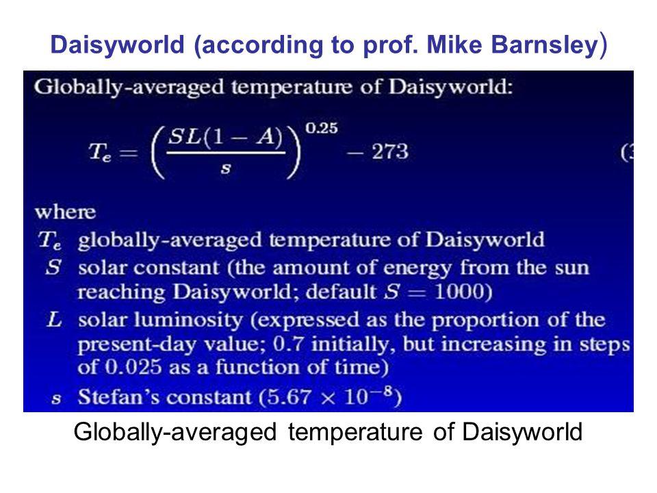Daisyworld (according to prof. Mike Barnsley ) Globally-averaged temperature of Daisyworld