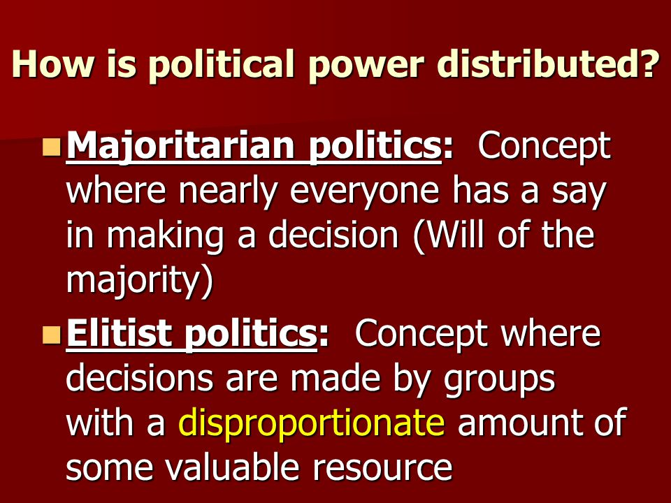How is political power wielded.When do majoritarian politics prevail.