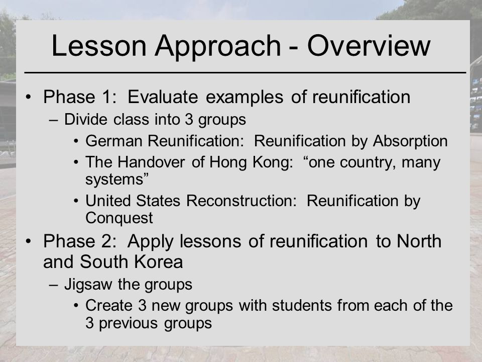 Lesson Approach - Overview Phase 1: Evaluate examples of reunification –Divide class into 3 groups German Reunification: Reunification by Absorption The Handover of Hong Kong: one country, many systems United States Reconstruction: Reunification by Conquest Phase 2: Apply lessons of reunification to North and South Korea –Jigsaw the groups Create 3 new groups with students from each of the 3 previous groups