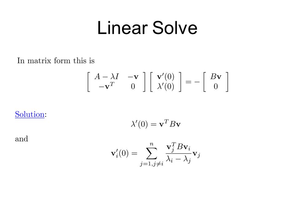 Linear Solve