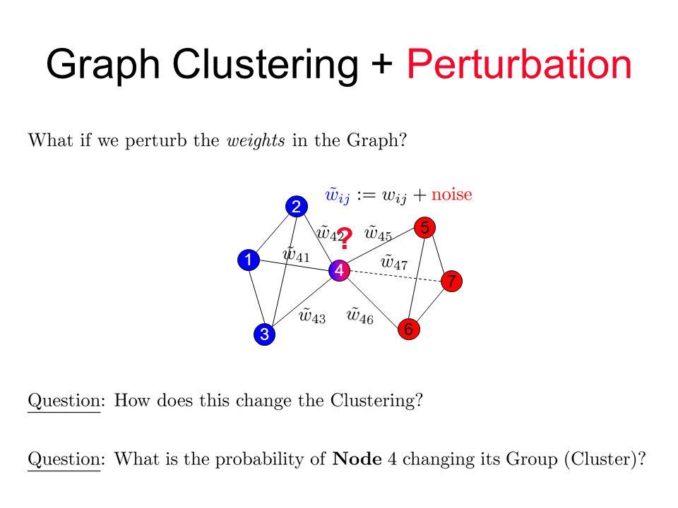Graph Clustering + Perturbation 3 4 1 2 6 7 5
