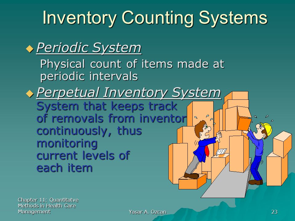 Chapter 11: Quantitatve Methods in Health Care Management Yasar A. Ozcan 23 Inventory Counting Systems  Periodic System Physical count of items made