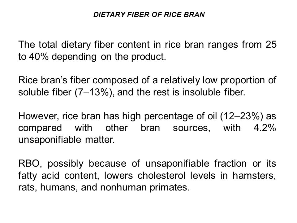 DIETARY FIBER OF RICE BRAN The total dietary fiber content in rice bran ranges from 25 to 40% depending on the product.